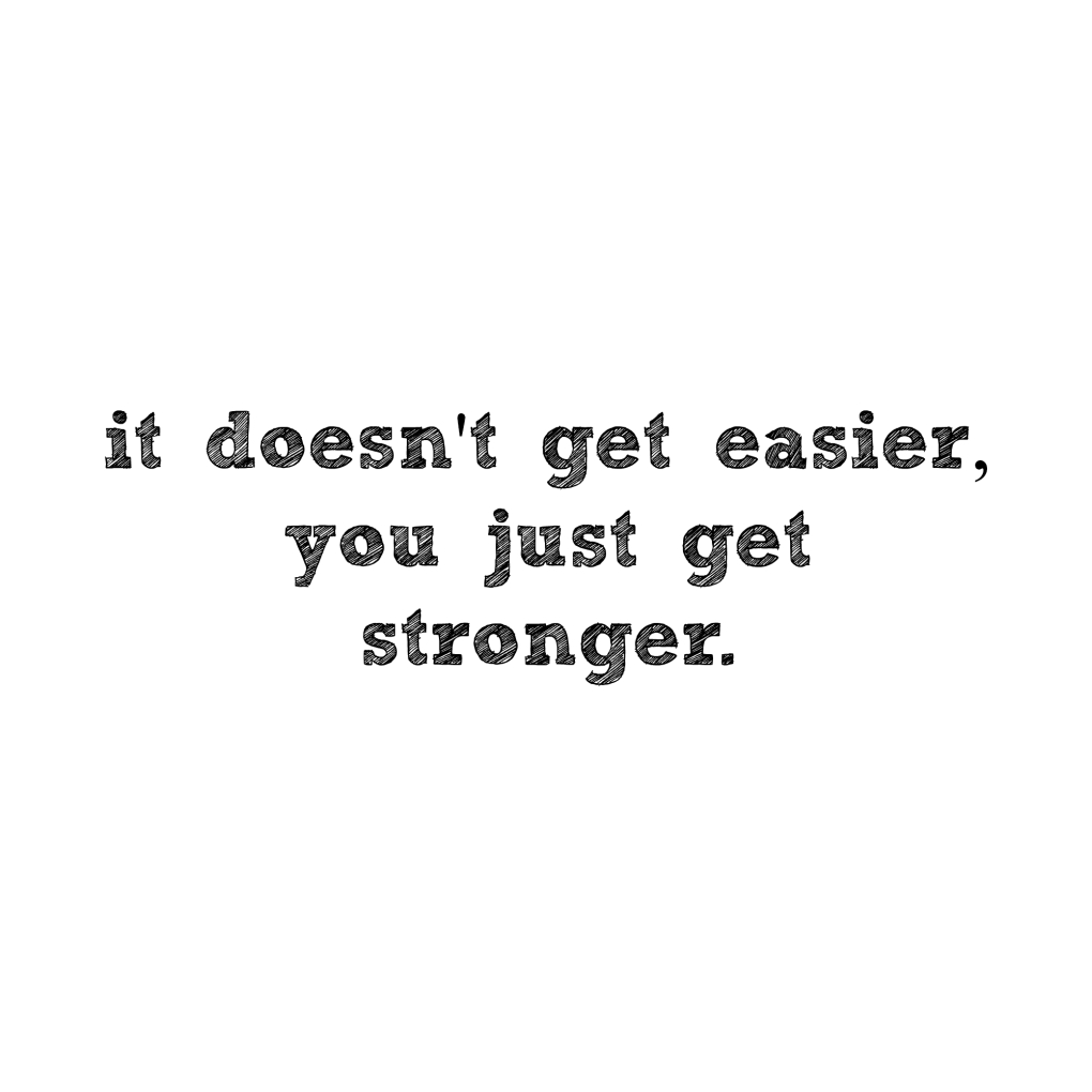 It doesn't get easier, you just get stronger Quote motivation